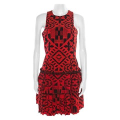 Alexander McQueen Red and Black Printed Tiered Sleeveless Dress S