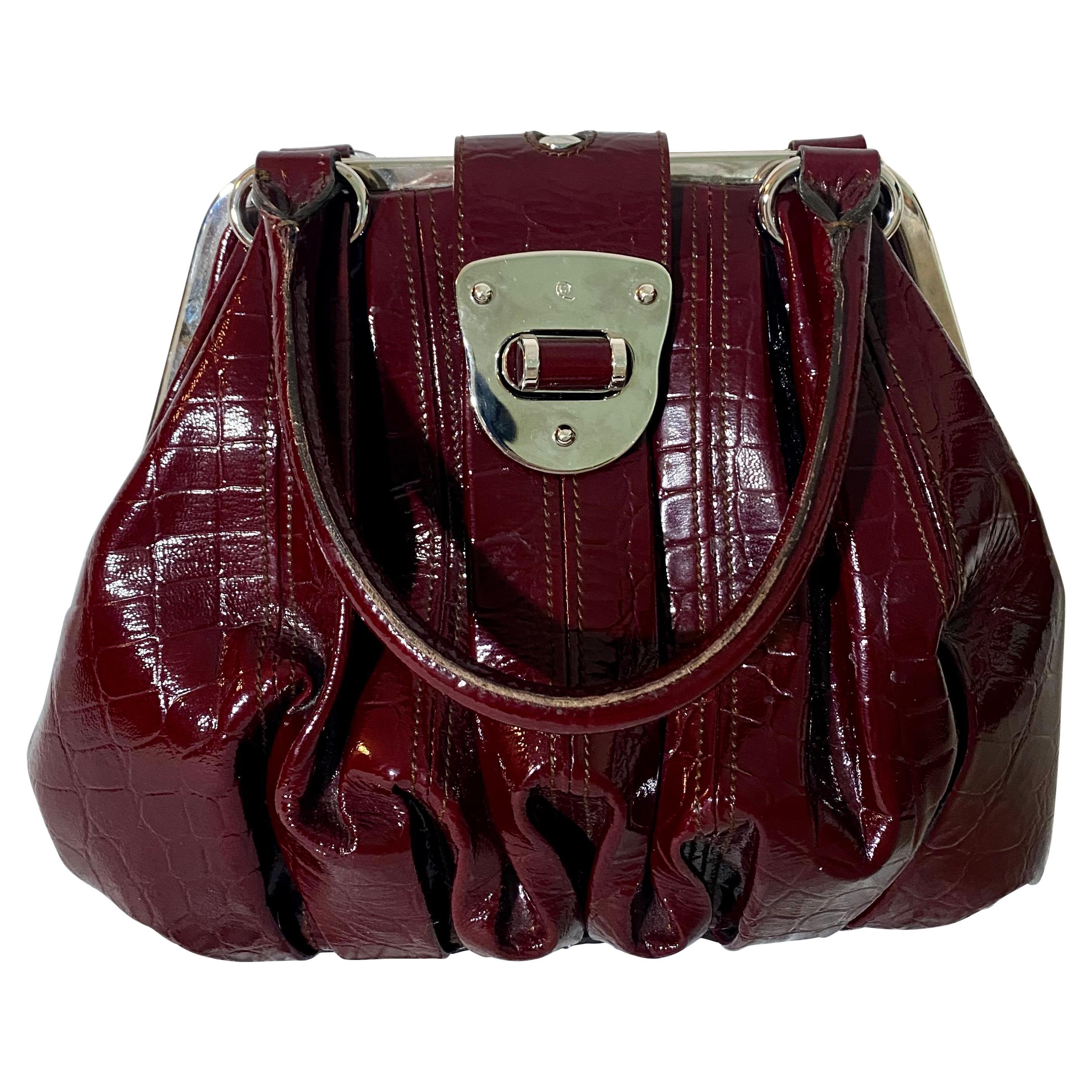 Alexander McQueen Red Crocodile Leather Elvie Bag