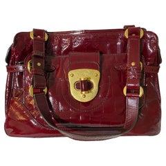 Alexander McQueen Red Crocodile Leather Top Handle Bag
