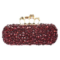 Alexander McQueen Red Crystal Embellished Leather Skull Knuckle Box Clutch