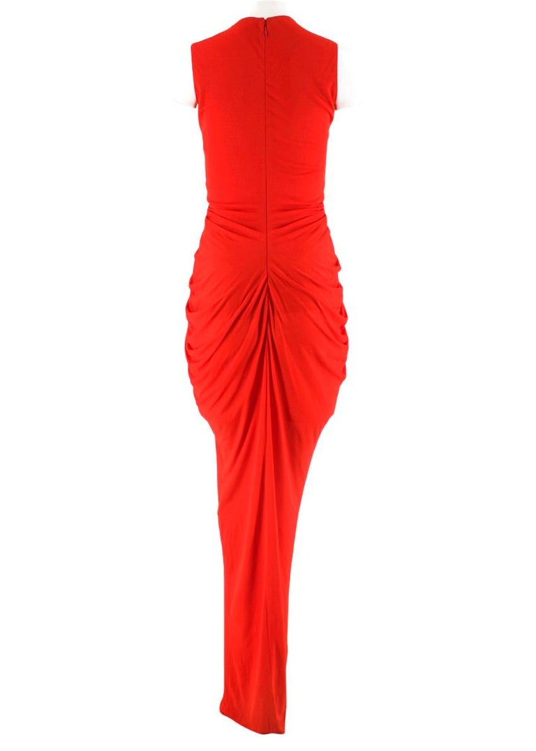 Alexander McQueen Red Draped Sleeveless Gown XXS  In Excellent Condition For Sale In London, GB