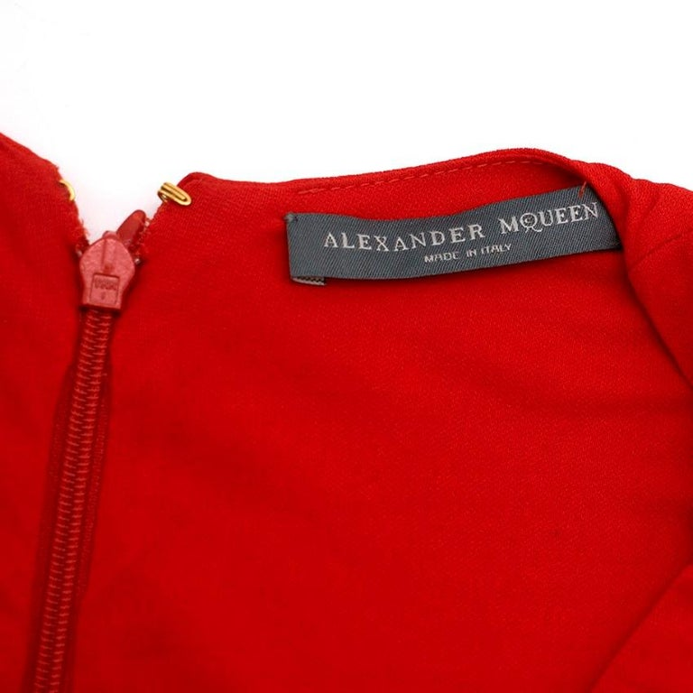 Alexander McQueen Red Draped Sleeveless Gown XXS  For Sale 1