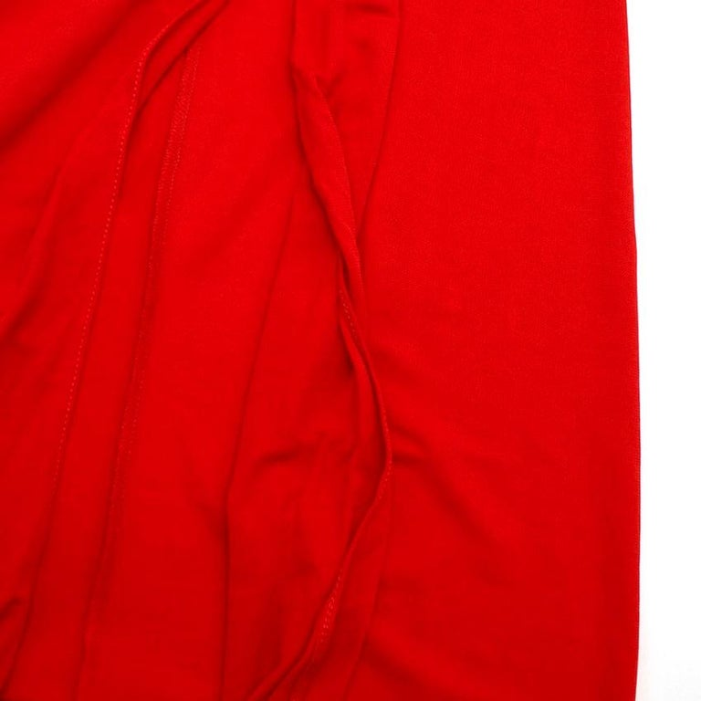 Alexander McQueen Red Draped Sleeveless Gown XXS  For Sale 2