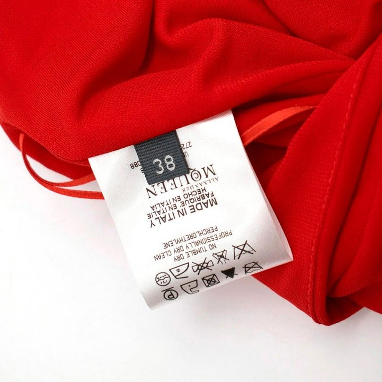 Alexander McQueen Red Draped Sleeveless Gown XXS  For Sale 3