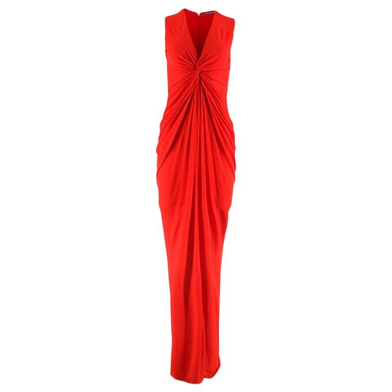 Alexander McQueen Red Draped Sleeveless Gown XXS  For Sale