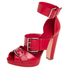 Alexander McQueen Red Leather Buckle Detail Ankle Cuff Sandals Size 38