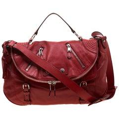 Alexander McQueen Red Leather Faithful Crossbody Bag