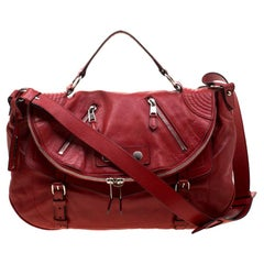 Alexander McQueen Red Leather Faithful Crossbody Bag