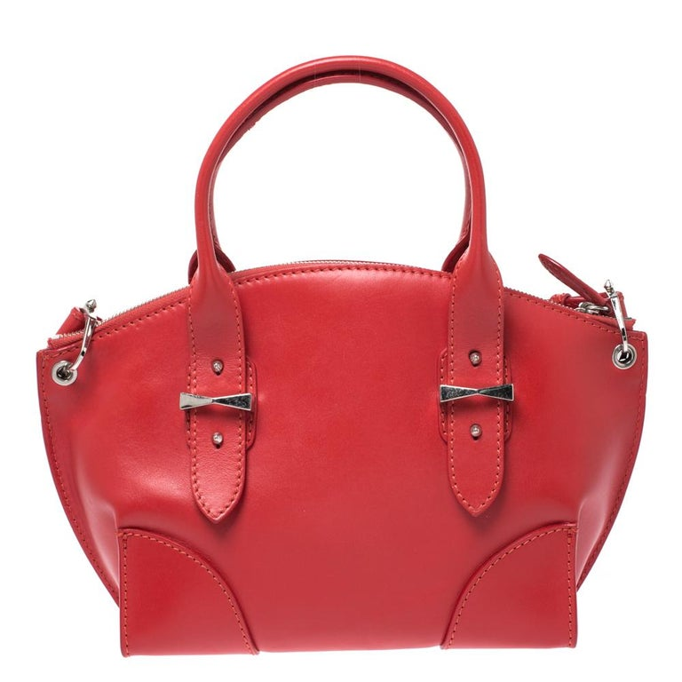 Alexander McQueen Red Leather Small Legend Tote For Sale 3