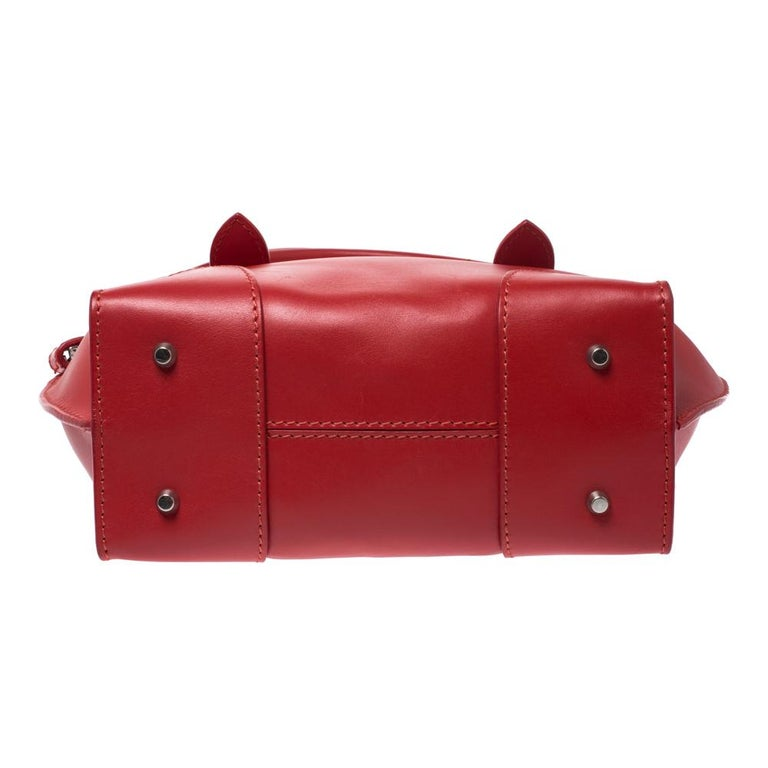 Alexander McQueen Red Leather Small Legend Tote For Sale 4