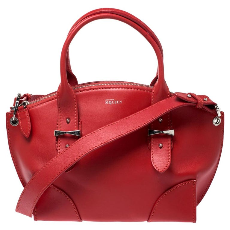 Alexander McQueen Red Leather Small Legend Tote For Sale