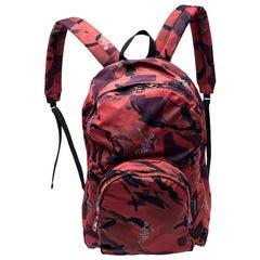Alexander McQueen Red Nylon Dancing Skeleton Backpack