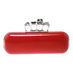 Alexander McQueen Red Patent Leather Skull Knuckle Clutch