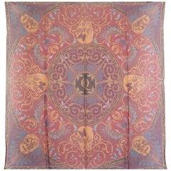 ALEXANDER MCQUEEN red purple silk chiffon SKULL Scarf