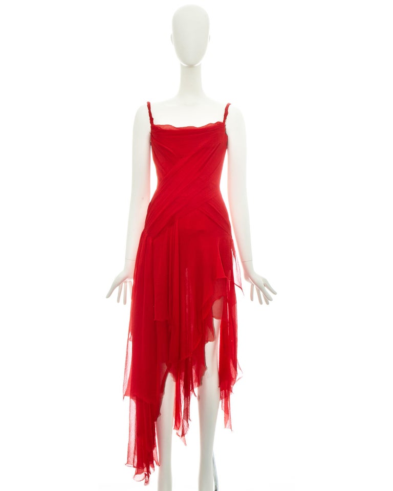 Alexander McQueen red silk chiffon corseted evening dress, ss 2003 In Good Condition For Sale In London, GB