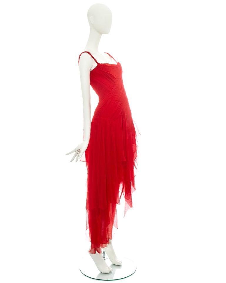 Women's Alexander McQueen red silk chiffon corseted evening dress, ss 2003 For Sale
