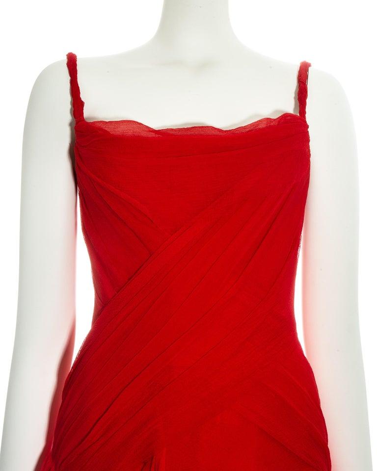 Alexander McQueen red silk chiffon corseted evening dress, ss 2003 For Sale 1