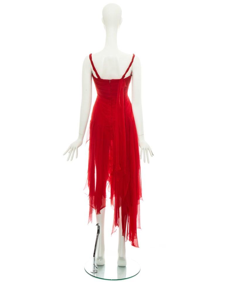 Alexander McQueen red silk chiffon corseted evening dress, ss 2003 For Sale 2