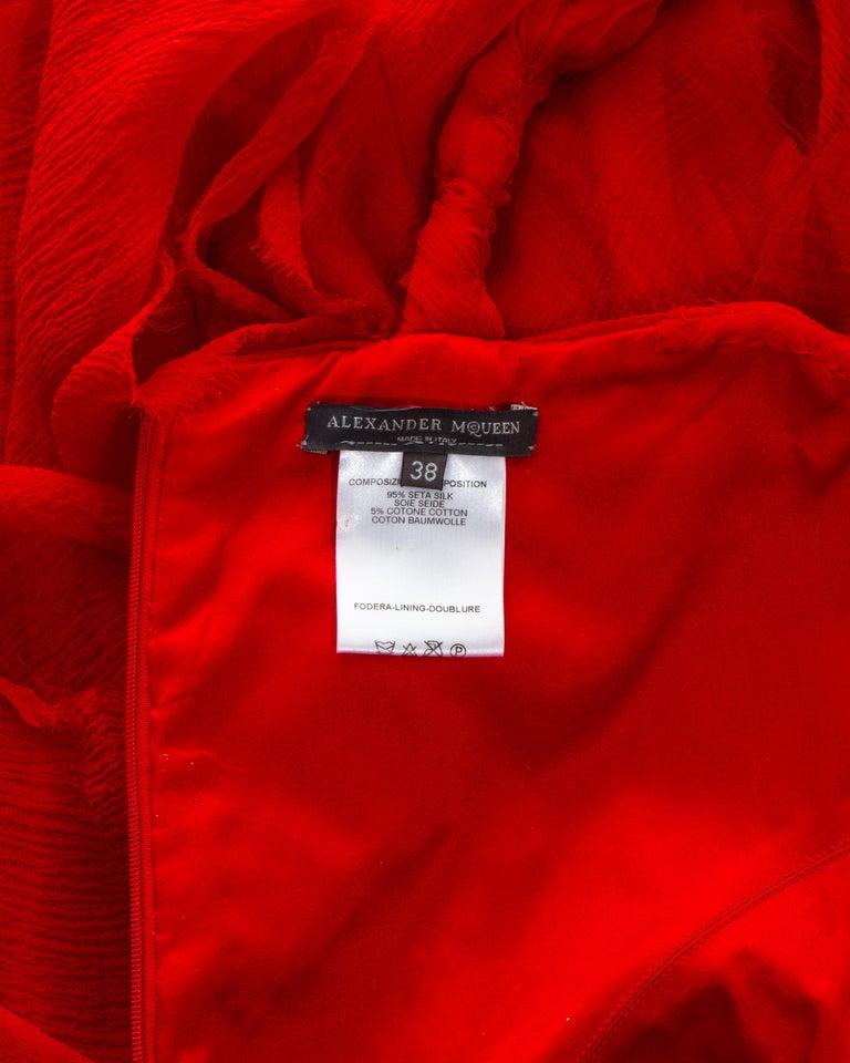 Alexander McQueen red silk chiffon corseted evening dress, ss 2003 For Sale 4