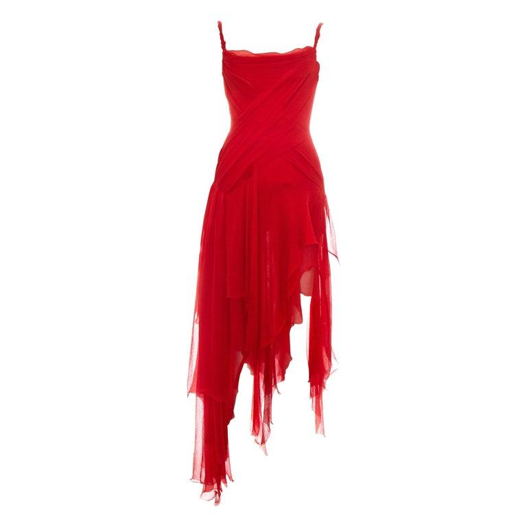 Alexander McQueen red silk chiffon corseted evening dress, ss 2003 For Sale