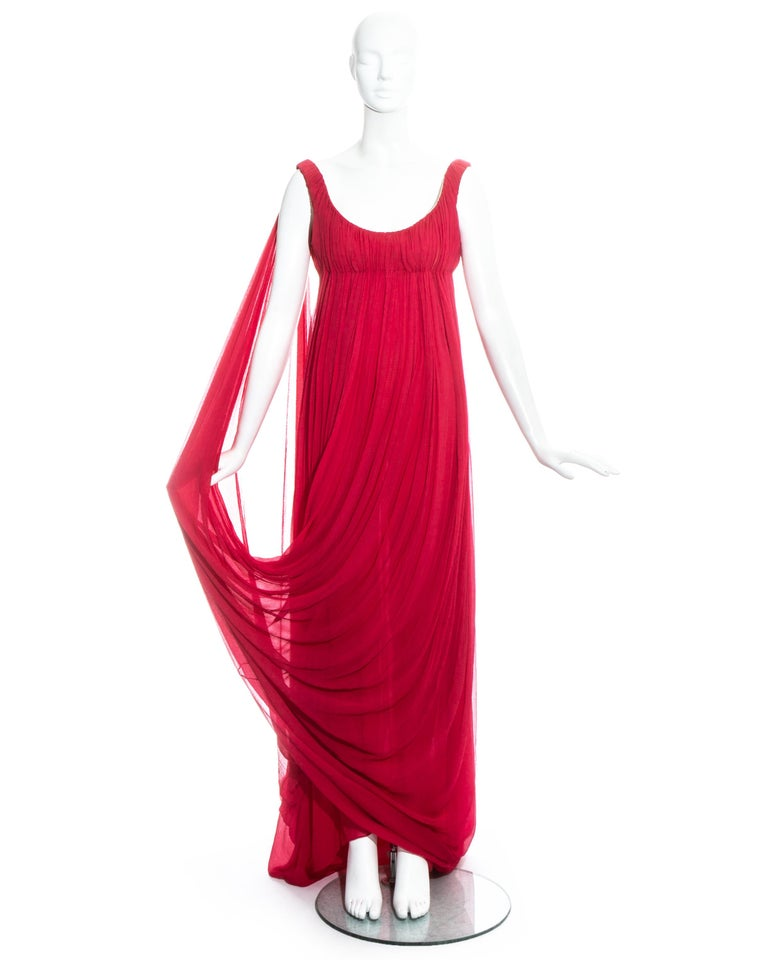 Red Alexander McQueen red silk chiffon empire evening dress with train, fw 2008 For Sale