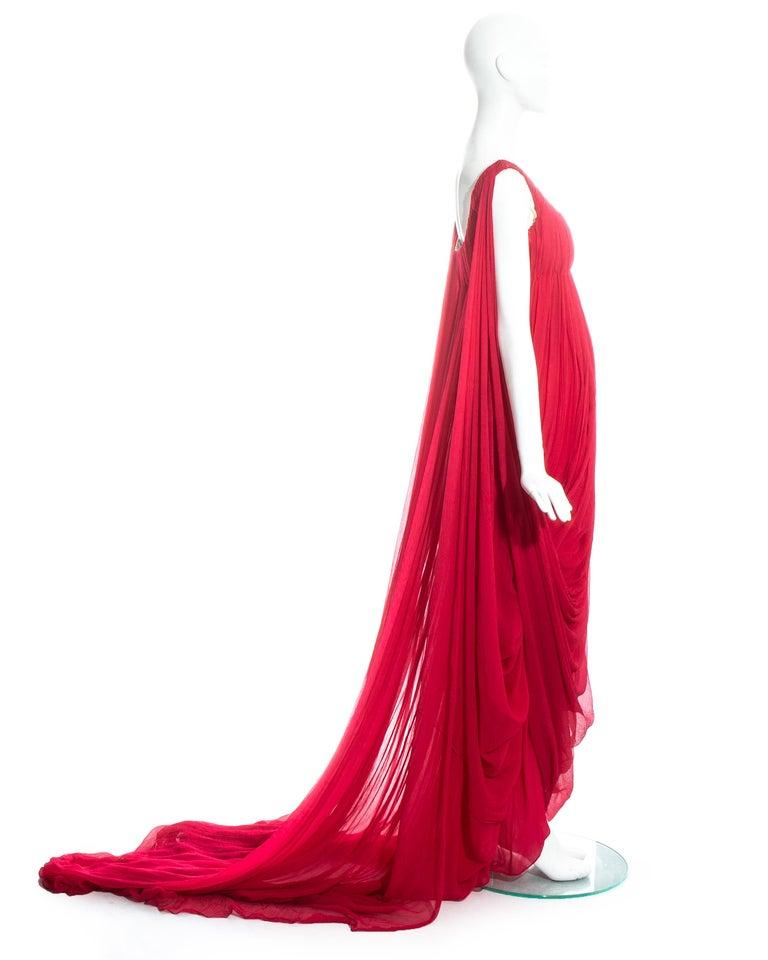 Women's Alexander McQueen red silk chiffon empire evening dress with train, fw 2008 For Sale