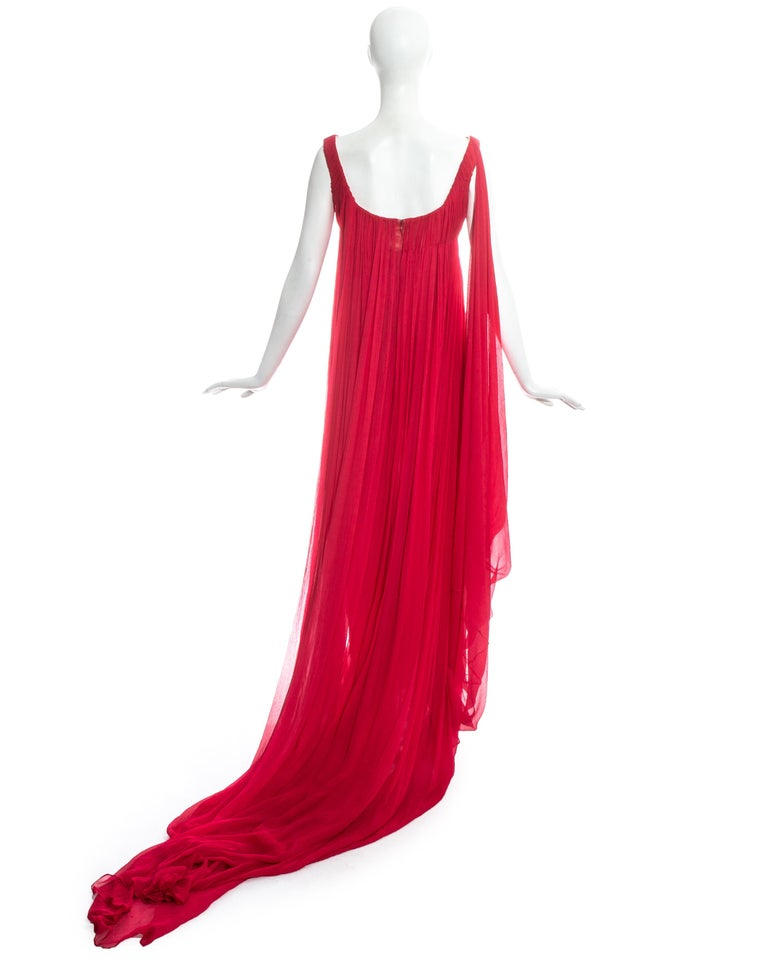 Alexander McQueen red silk chiffon empire evening dress with train, fw 2008 For Sale 1