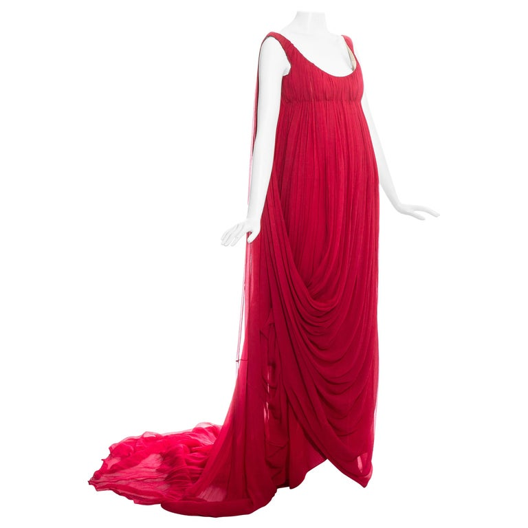 Alexander McQueen red silk chiffon empire evening dress with train, fw 2008 For Sale