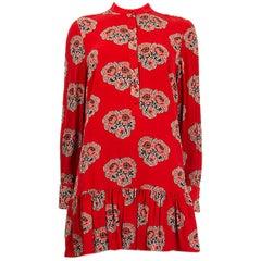 ALEXANDER MCQUEEN red silk GEORGETTE FLORAL DROP WAIST Dress 42 M