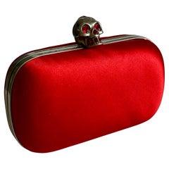 Alexander McQueen Red Silk Heart Skull Box Clutch