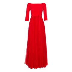 Alexander McQueen Red Silk & Knit Flared Off Shoulder Maxi Dress M
