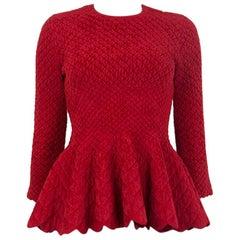 ALEXANDER MCQUEEN red wool blend QUILTED PEPLUM Sweater S