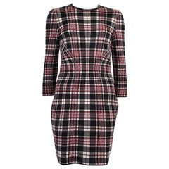 ALEXANDER MCQUEEN red wool PLAID 3/4 Sleeve Dress 44