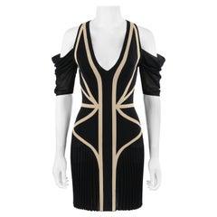 ALEXANDER McQUEEN Resort 2009 Black Beige Mesh Pleated Cold Shoulder Knit Dress