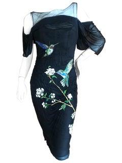 Alexander McQueen Resort 2009 Hummingbird Embroidered Little Black Corset Dress