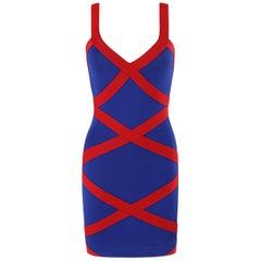 ALEXANDER McQUEEN Resort 2010 Blue Red Criss-Cross Bandage V-Neck Bodycon Dress