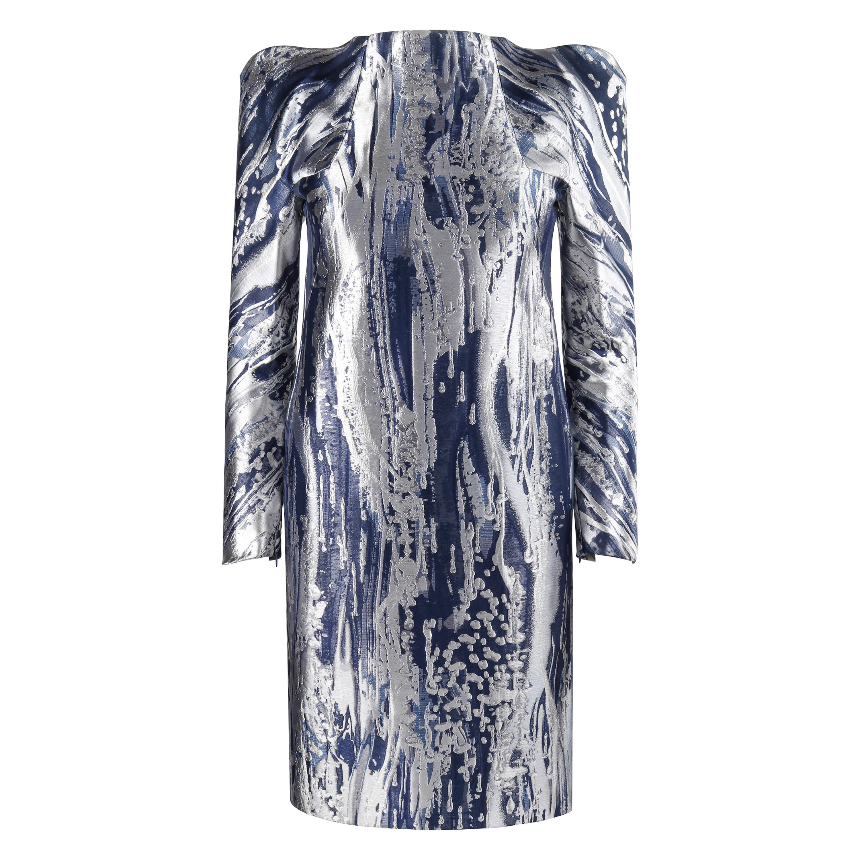 ALEXANDER McQUEEN Resort 2010 Blue Silver Metallic Structured Shift Dress NWT