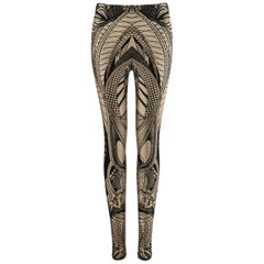 ALEXANDER McQUEEN Resort 2010 Metallic Light Gold Black Lace Print Legging Pants