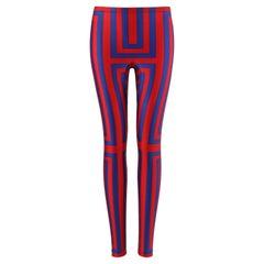 ALEXANDER McQUEEN Resort 2010 Royal Blue & Red Geometric Stripe Legging Pants