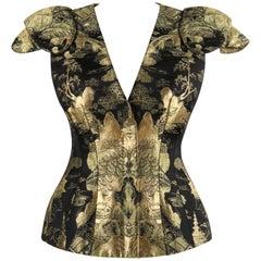 ALEXANDER McQUEEN Resort 2011 Black Gold Brocade Armour Sleeve Zip Up Jacket Top