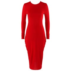 ALEXANDER McQUEEN Resort 2011 Red Long Sleeve Draped Ruched Detail Bodycon Dress