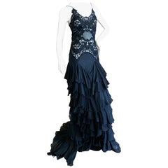 Alexander McQueen Romantic Black Flamenco Ruffle Guipure Lace Dress Spring 2005