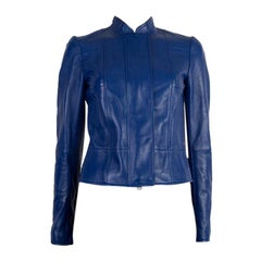 ALEXANDER MCQUEEN royal blue leather CROPPED Jacket 38
