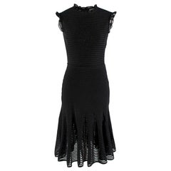 Alexander Mcqueen Ruffle Neck & Sleeve Sheer Knit Dress S