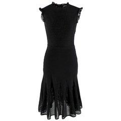 Alexander Mcqueen Ruffle Neck & Sleeve Sheer Knit Dress - Size Small
