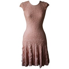 Alexander McQueen Ruffle Stretch Knit Mini Dress