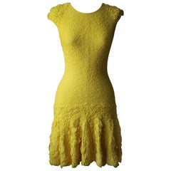 Alexander McQueen Ruffle Stretch Knit Mini Dress