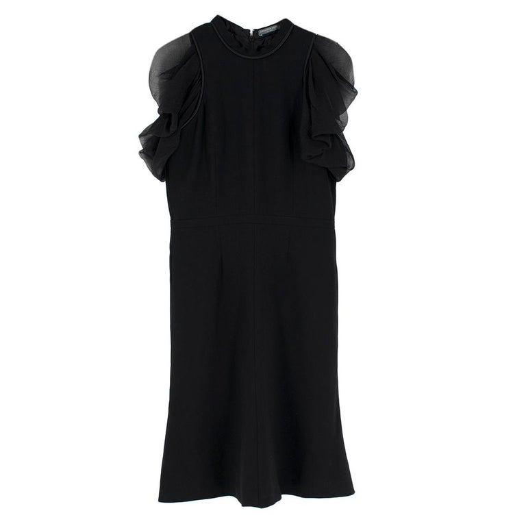 Women's Alexander McQueen Ruffled Chiffon Puff Sleeve Black Dress 42	 For Sale