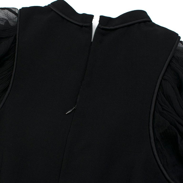 Alexander McQueen Ruffled Chiffon Puff Sleeve Black Dress 42	 For Sale 1