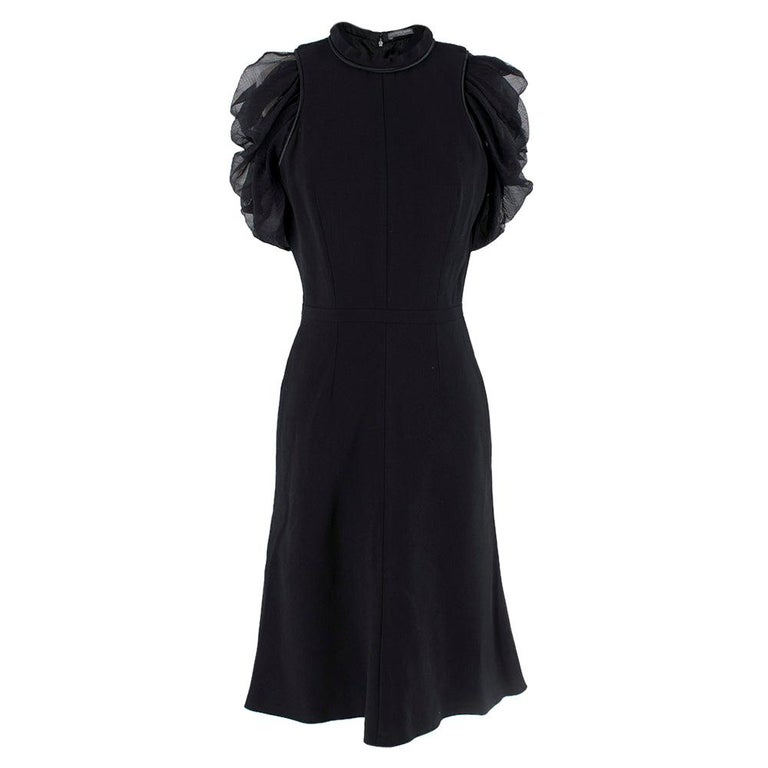 Alexander McQueen Ruffled Chiffon Puff Sleeve Black Dress 42	 For Sale